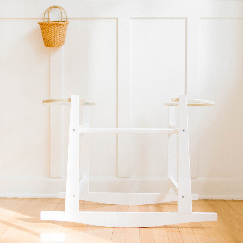 Modern Rocking Bassinet Stand- White