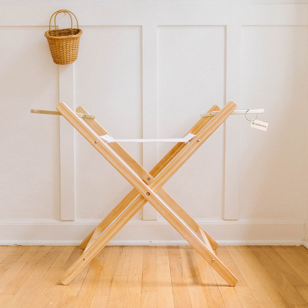 Bundle Liner, Sheet, &  Stationary Bassinet Stand- Natural Pine