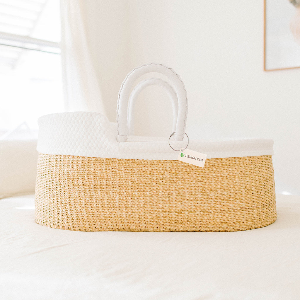 Signature Bilia Bassinet & Doll Basket Combo: Natural - White Leather