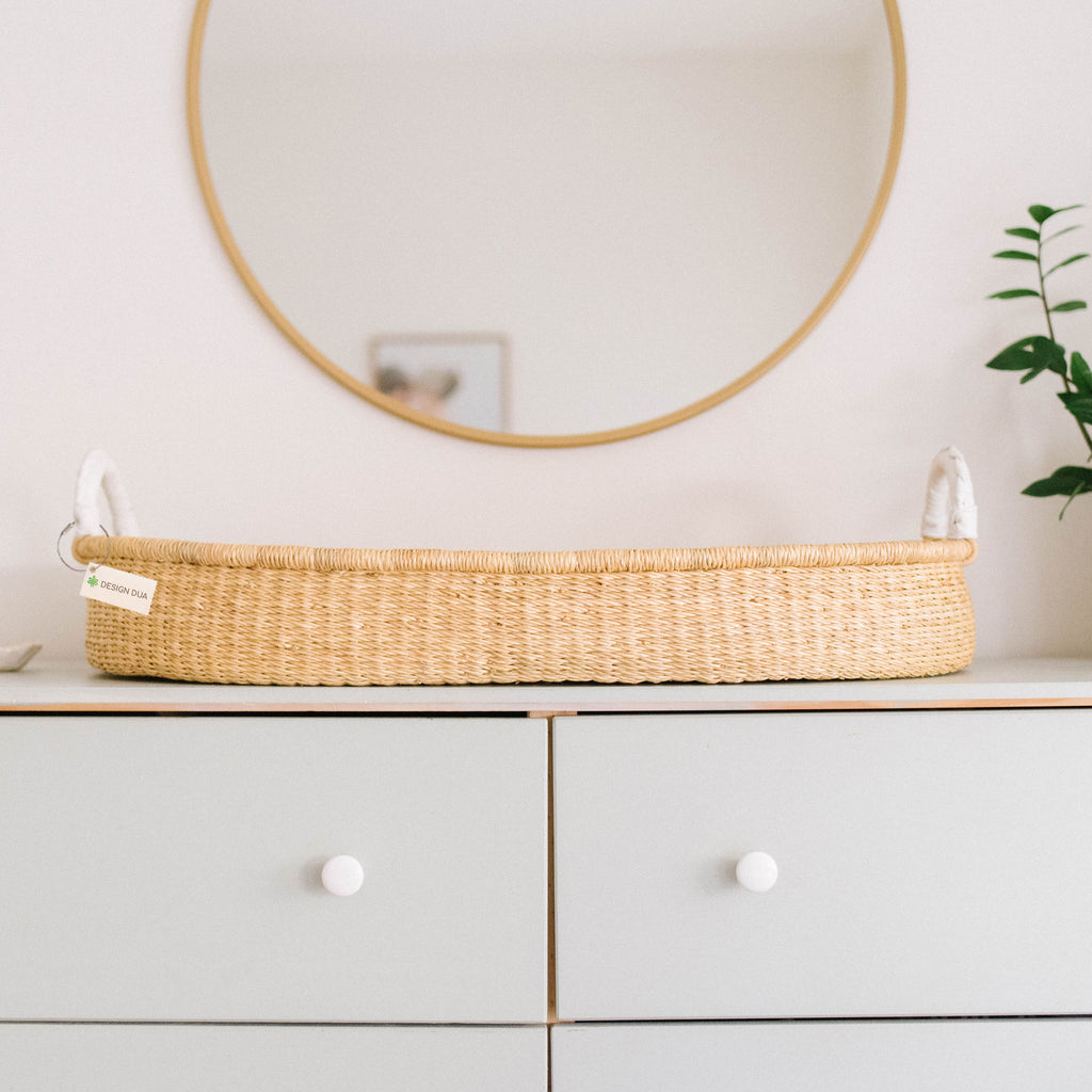 Handwoven Changing Basket: Natural White