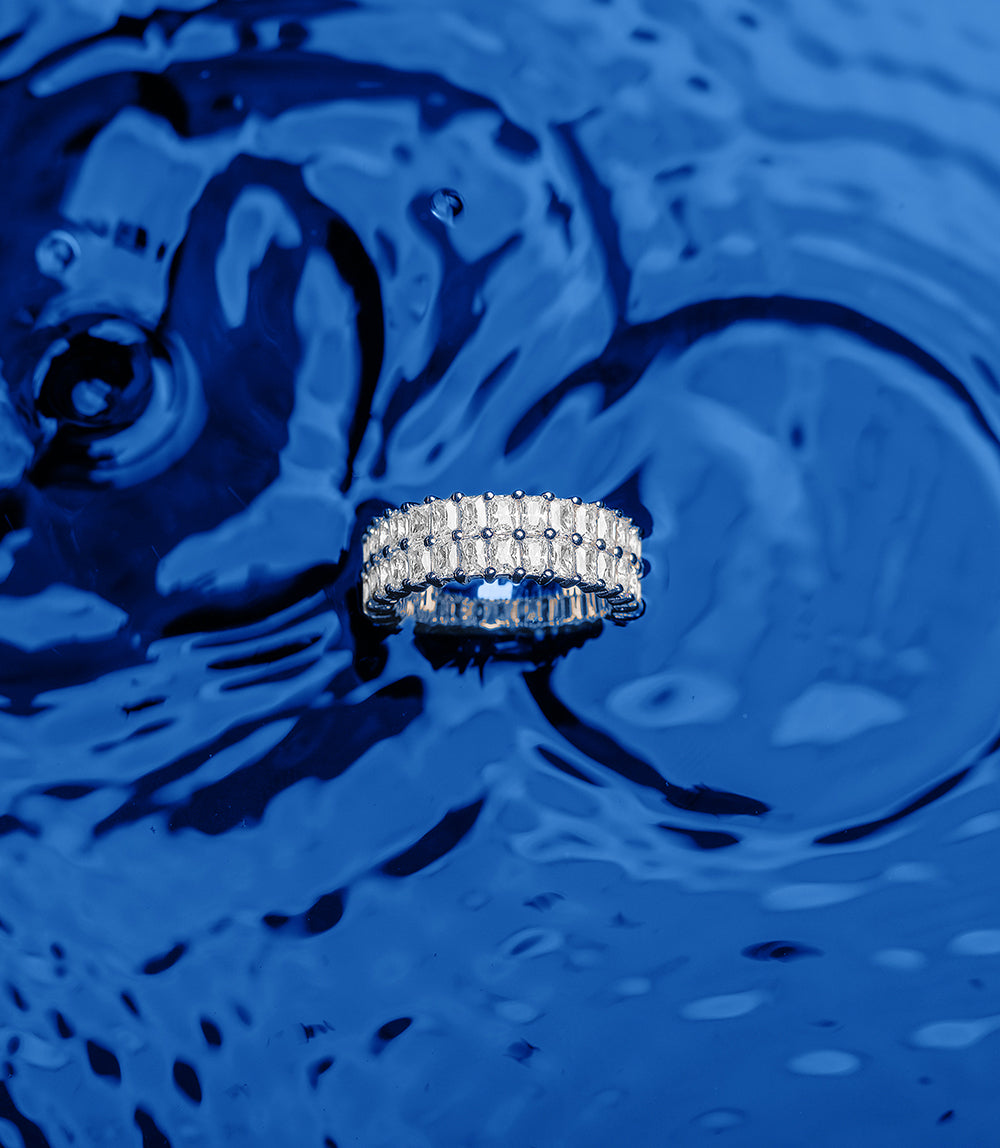 ECLAT DOUBLE ROW RING - WHITE SILVER