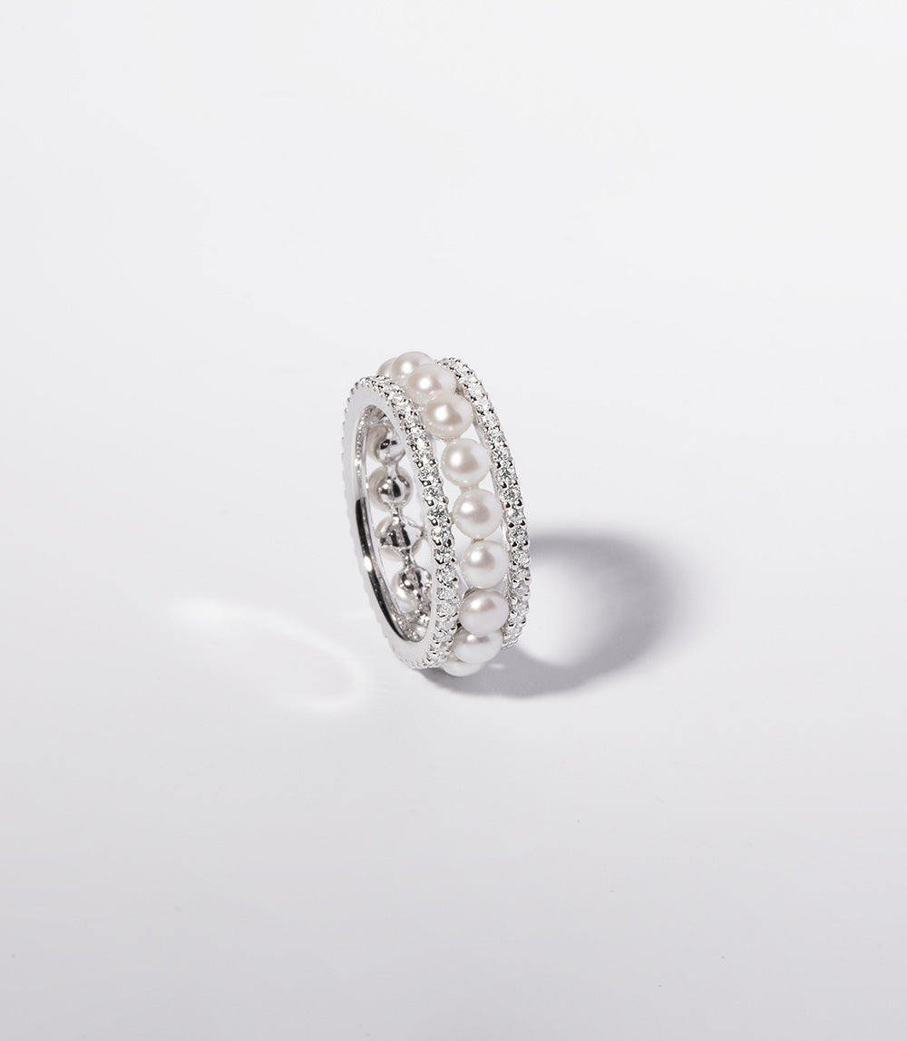 DOUBLE PAVED HOOP RING WITH PEARLS - WHITE SILVER