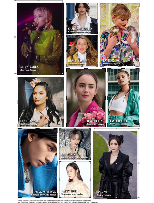 Taylor Swift Miley Cyrus Camila Cabello Blake Lively Taylor Hill Lily Collins Dami Lovato Song Weilong Patty Hou Lui Yuxin Yang Mi Apm Monaco