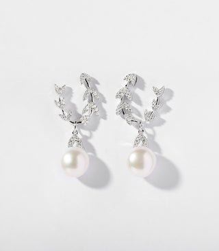 ETERNELLES EARRINGS WITH PEARL - WHITE SILVER