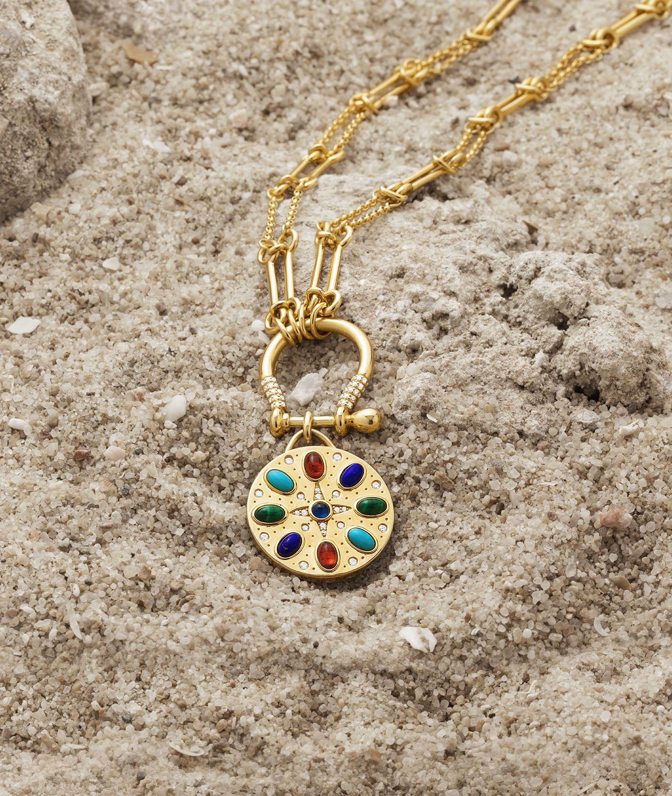 Multicolor Stone Medal Necklace