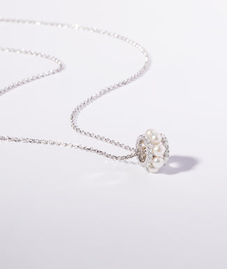 DOUBLE PAVED HOOP ADJUSTABLE NECKLACE WITH PEARLS - WHITE SILVER