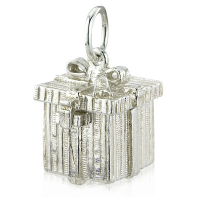'Opening Present Box', silver charm