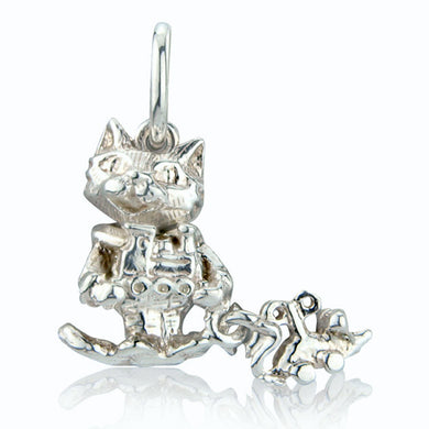 'Cute Cat with Toy Train and Clockwork Mouse', silver charm