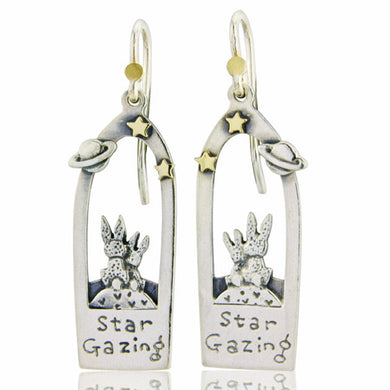'Star Gazing Bunny' drop earrings