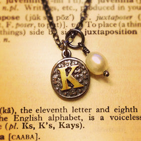 'Personalised Initial, Vintage Inspired', necklace