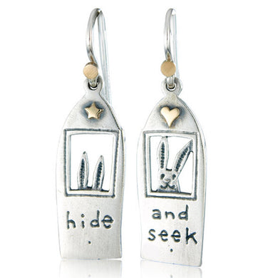 'Hide and seek', drop earrings
