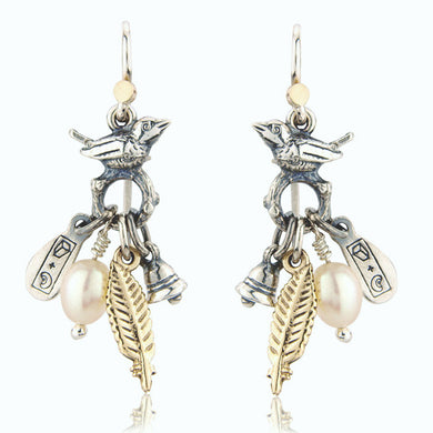 'Vintage Style Bird and Pearl', drop earrings