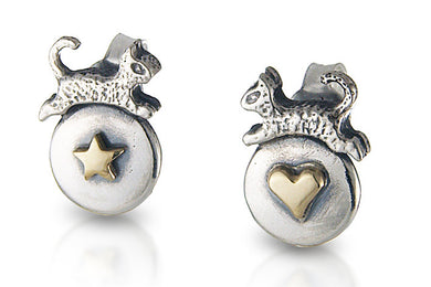 'Cat star heart', earrings