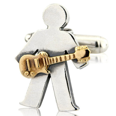 'Guitar Player' pick and mix, single cufflink
