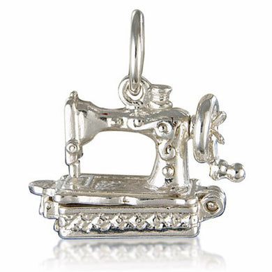 'Antique Sewing Machine', silver charm