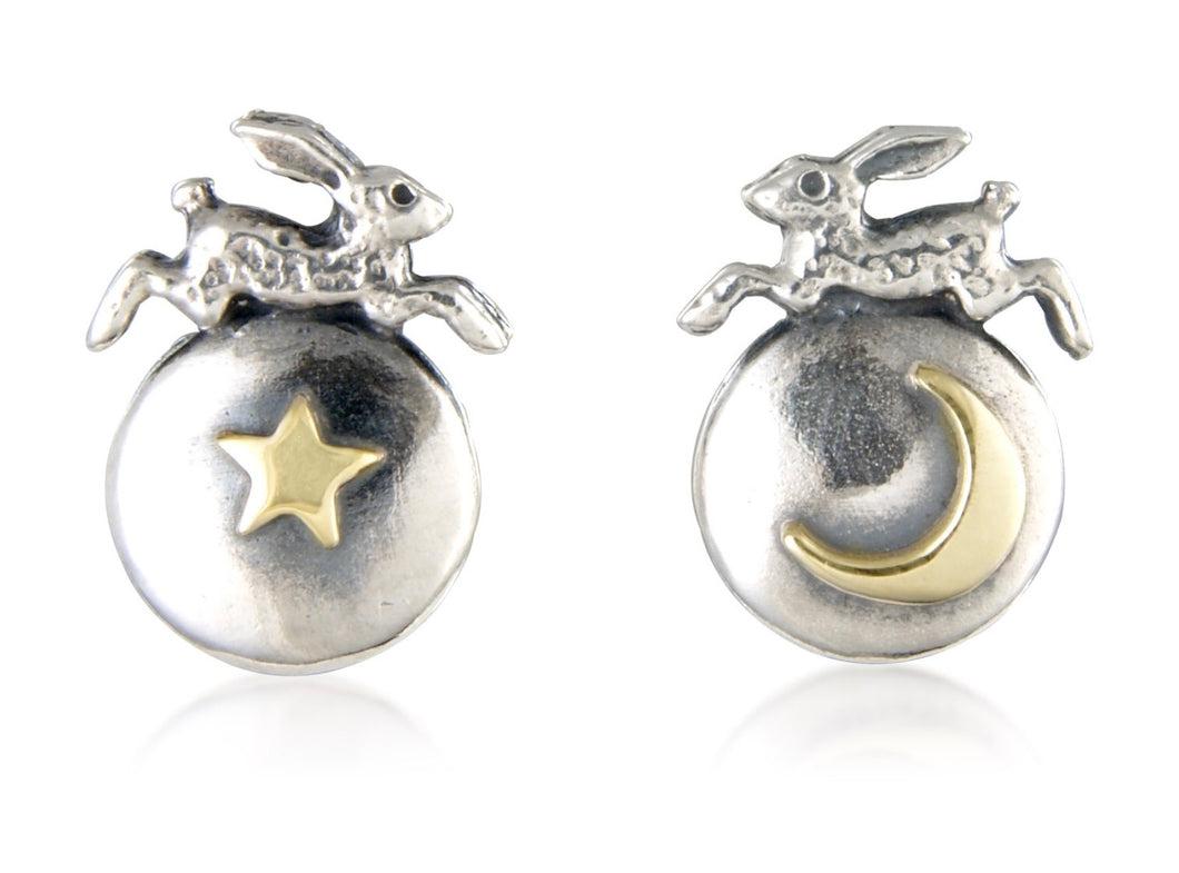 'Hare, Star, Moon', stud earrings