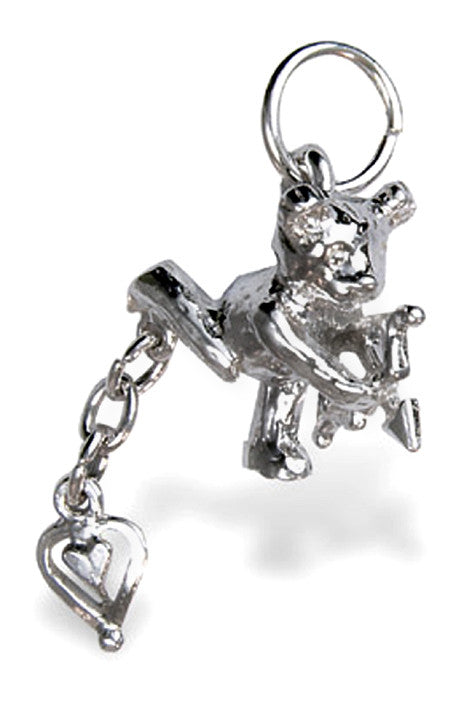 'Cupid Bear with Swinging Heart', silver charm