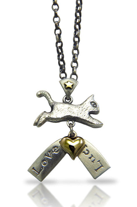 'Love and Luck Cat', necklace