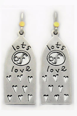 'Lots of love', drop earrings