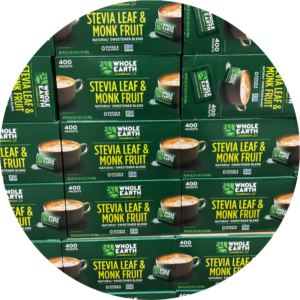 Stevia extract and monkfruit extract natural alternative sweetener.