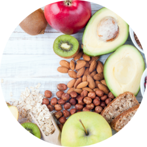 Whole grains and fruit for clean eating