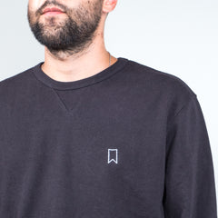 Lone Flag - Recycled Terry Varsity Crewneck Vintage Black