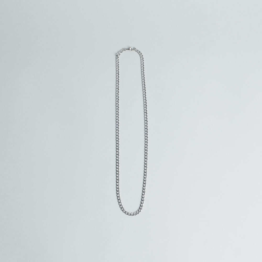 Lone Flag - Draping Curb Silver Chain Necklace