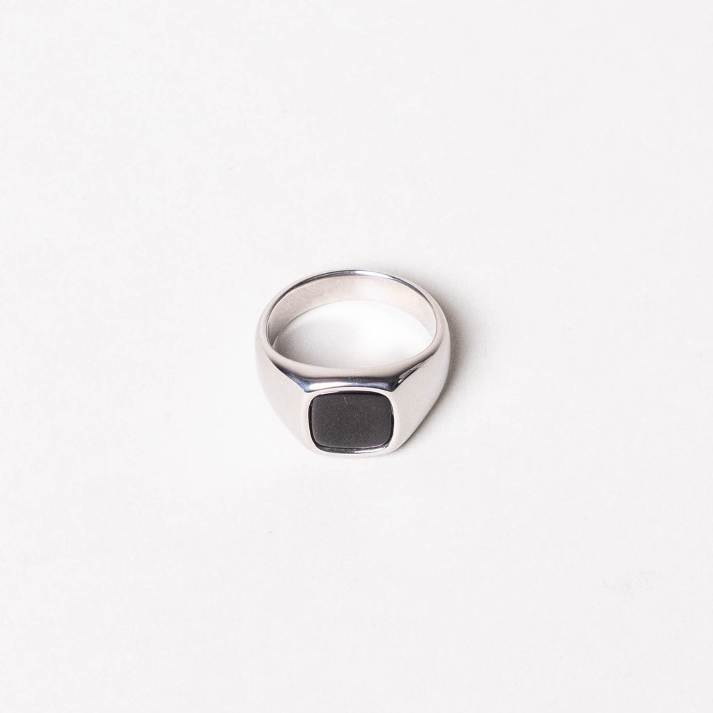 Lone Flag - Heavyweight Signet Black Stone Ring