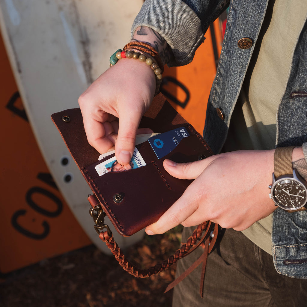 Friday & River x Lone Flag - Mid Trucker Wallet Dark Brown