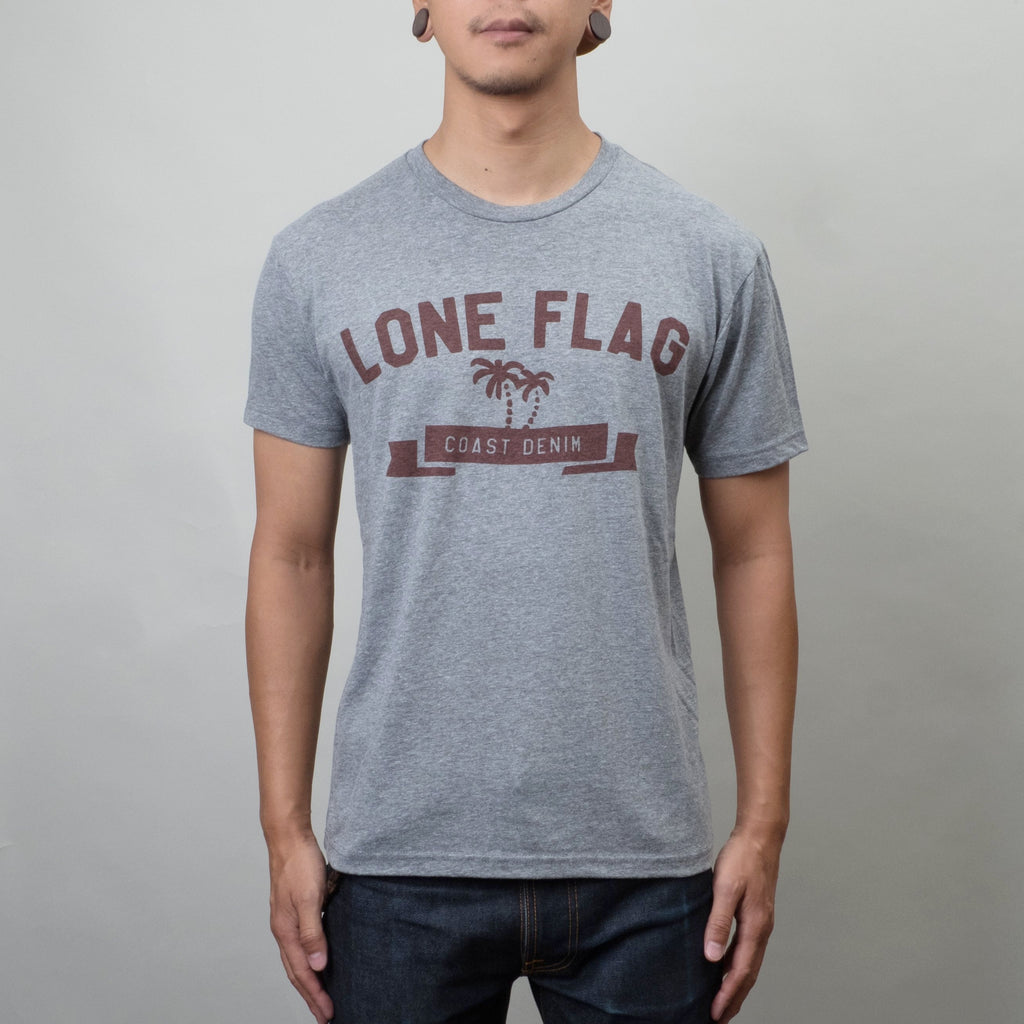 Lone Flag -  Coast Denim Tee Heather / Blood