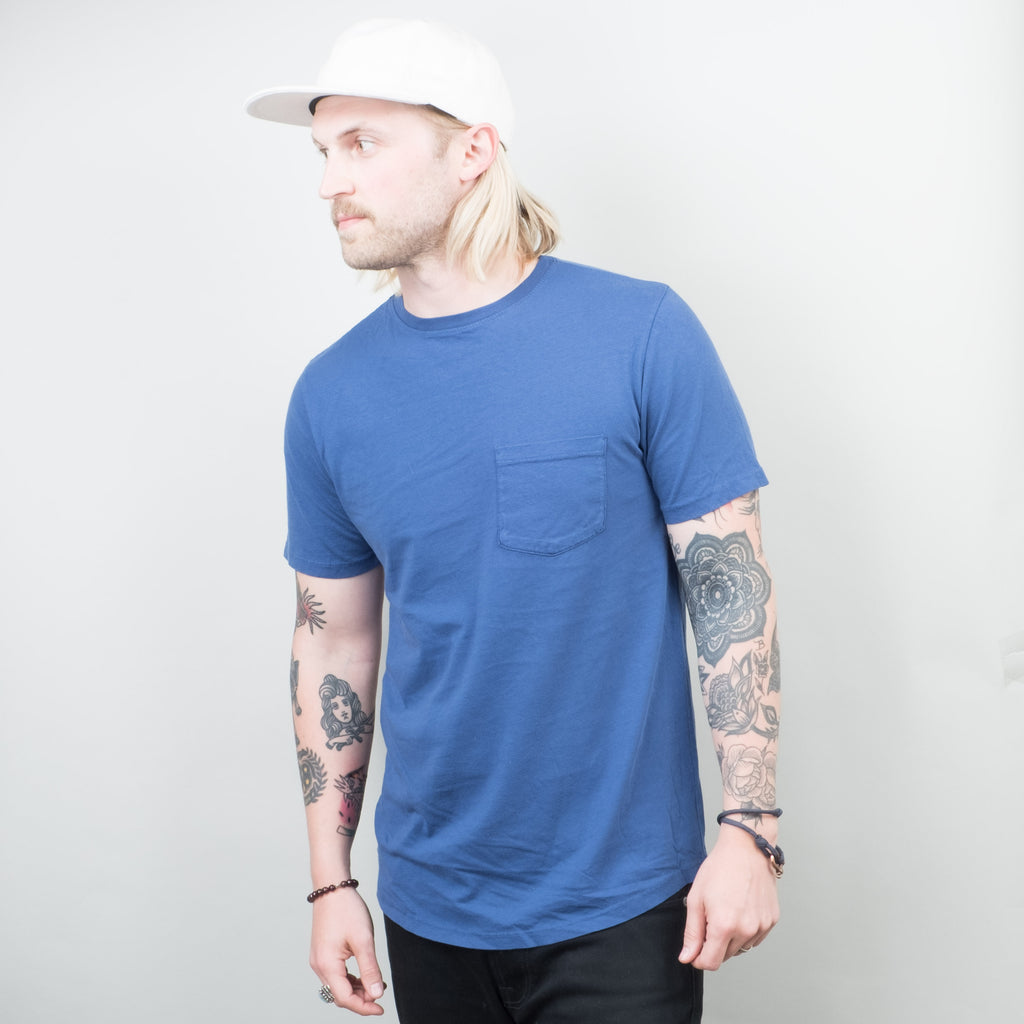 Lone Flag - Basic Pocket Curved Hem Washed Indigo