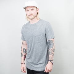 Lone Flag - Basic Pocket Curved Hem Heather Grey