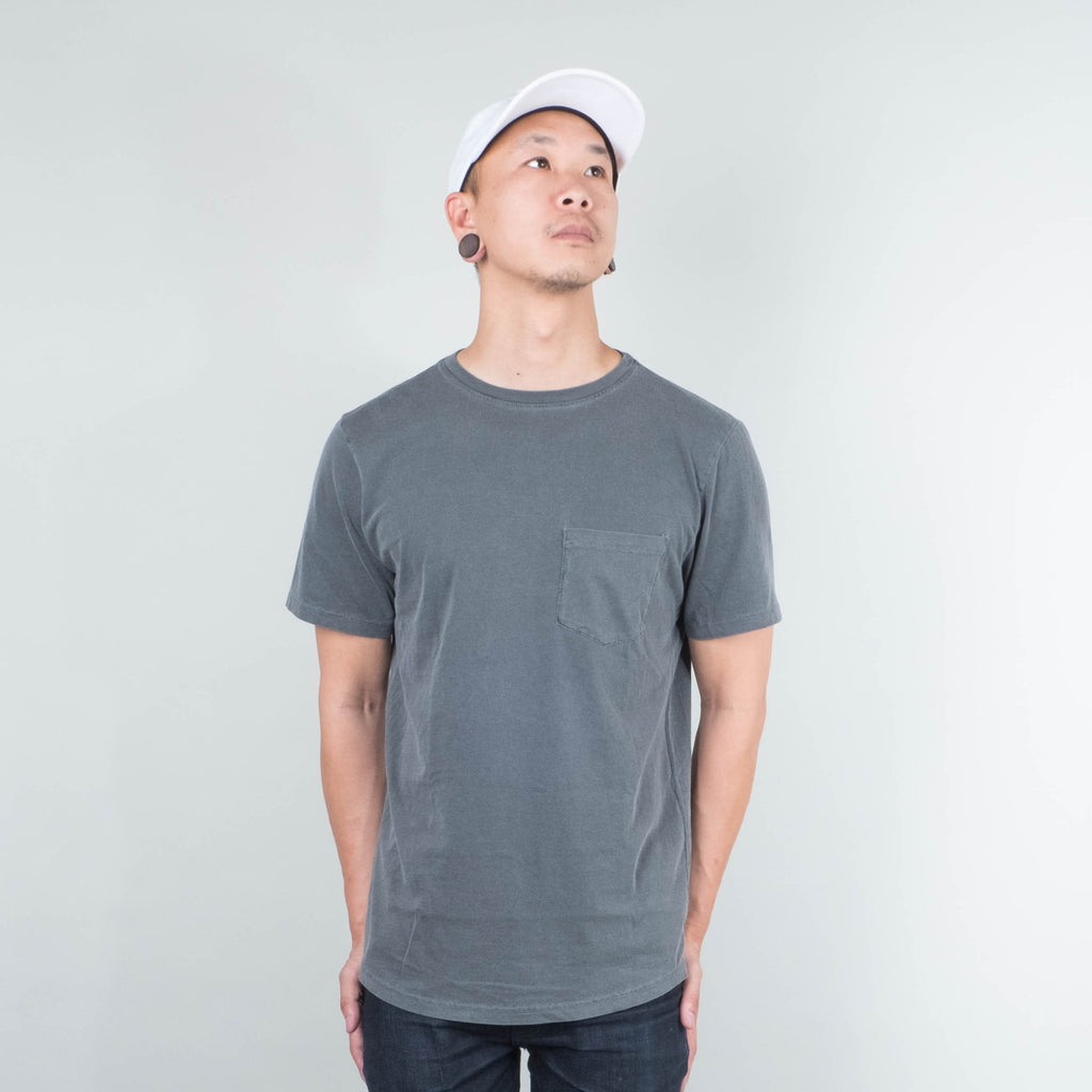 Lone Flag - Basic Pocket Curved Hem Washed Black
