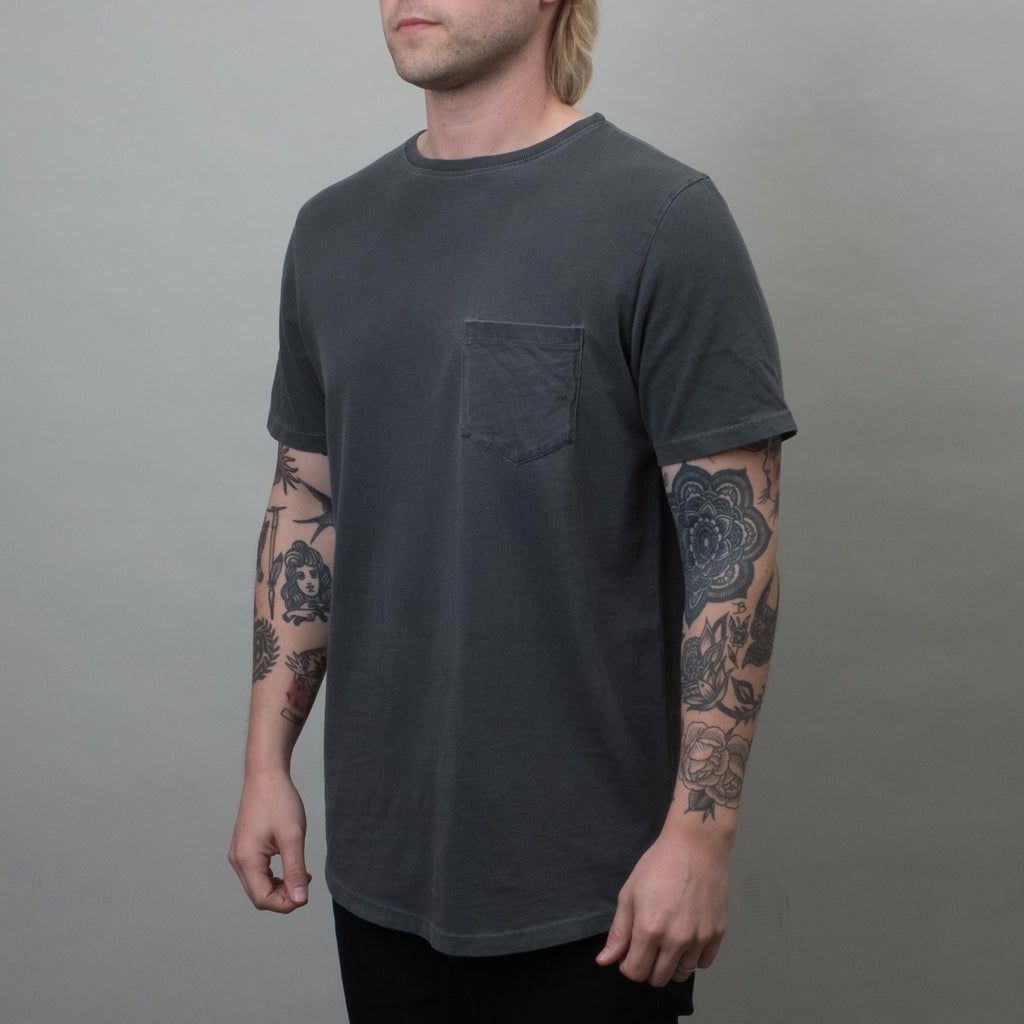Lone Flag - Heavyweight Basic Pocket Curved Hem Pigment Black