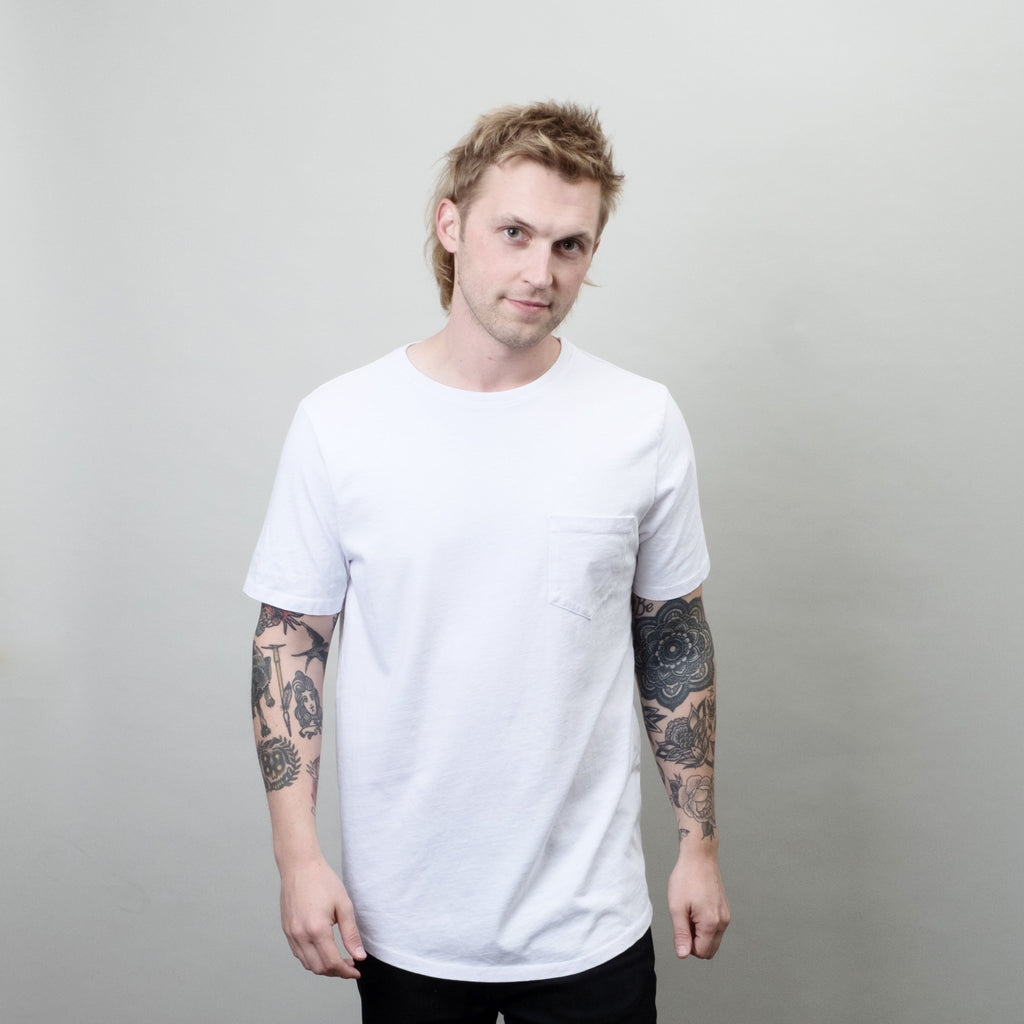 Lone Flag - Heavyweight Basic Pocket Curved Hem White