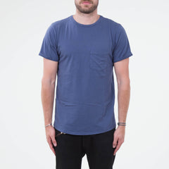 Lone Flag - Basic Pocket Curved Hem Washed Cobalt