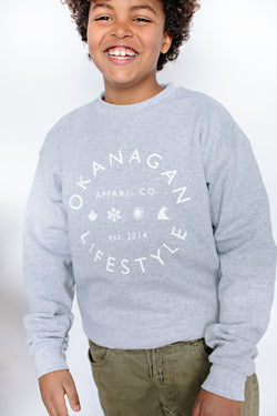'Classic' Grey Youth Crewneck - OKANAGAN LIFESTYLE APPAREL