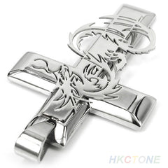 Men's Dragon Cross Stainless Steel Pendant Necklace Chain