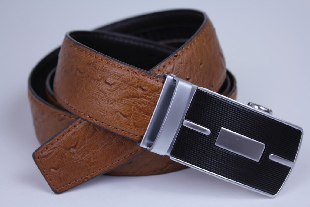 Mooniva Men's Luxury Leather Belt - BBP001-BROWN