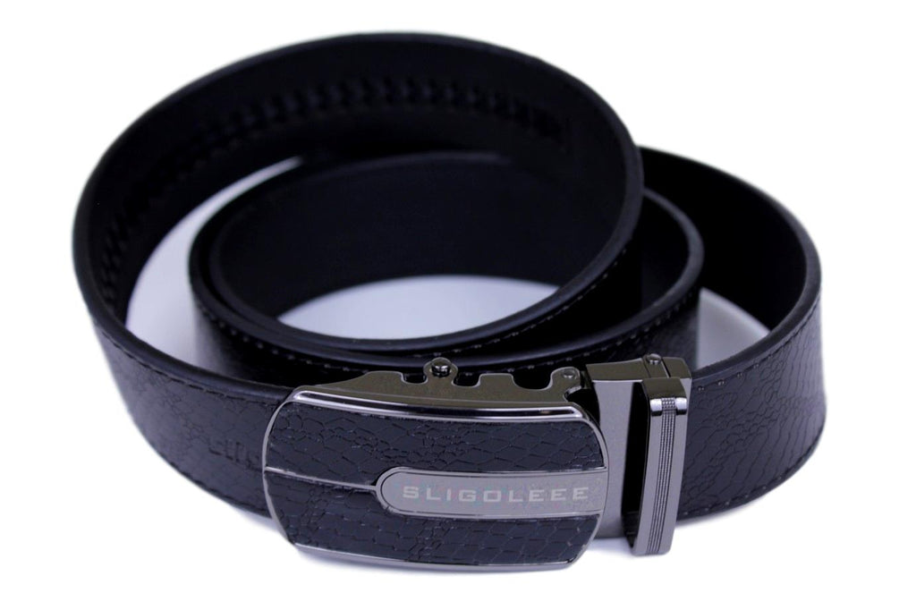 SLIGOLEEE Top Grain Leather Ratchet Belt  - BBP002RD-BLACK