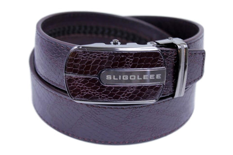 SLIGOLEEE Top Grain Leather Ratchet Belt  - BBP002RD-COFFEE