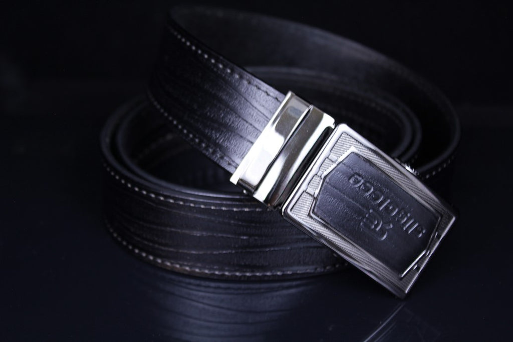 SLIGOLEEE Top Grain Leather Ratchet Belt  - BBP002SQ-BLACK