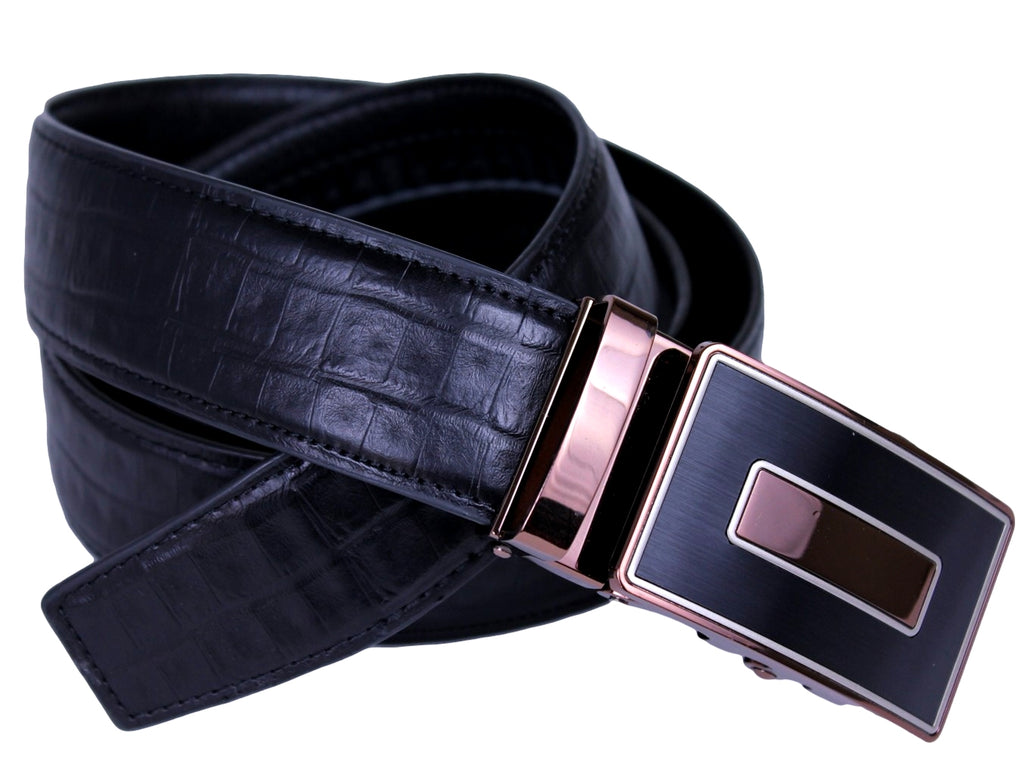 Mooniva Premium Leather Ratchet Belt  - BP003-BLACK
