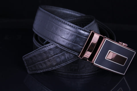 Mooniva Men's Luxury Leather Belt - BBP003-BLACK