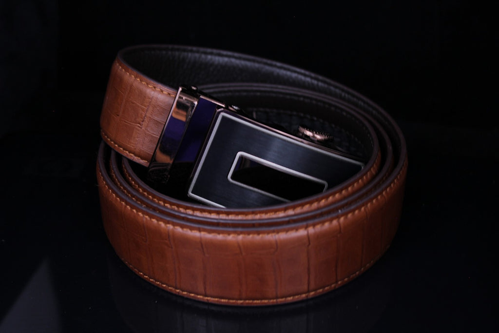 Mooniva Men's Luxury Leather Belt - BBP003-BROWN