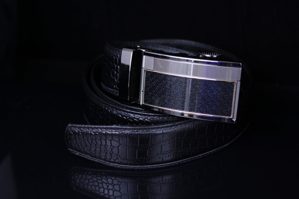 Mooniva Premium Leather Ratchet Belt  - BP004-BLACK