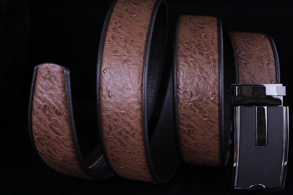 Mooniva Men's Luxury Leather Belt - BBP005-BROWN