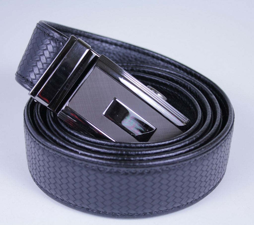 Mooniva Men's Ratchet Leather Belt - BBS001-BLACK