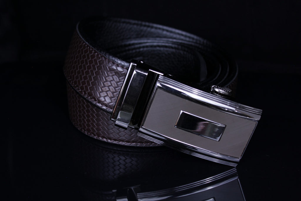 Mooniva Men's Ratchet Leather Belt - BBS001-COFFEE