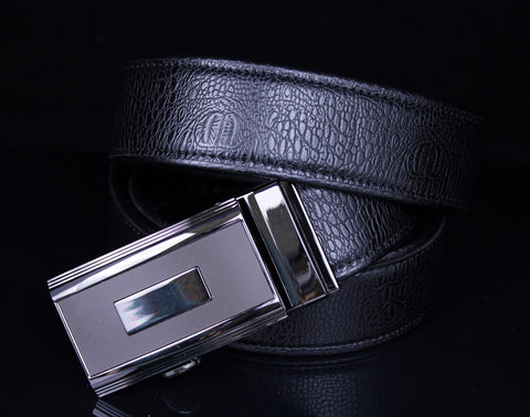 Mooniva Men's Ratchet Leather Belt - BBS0021-BLACK